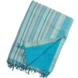Kikoy Towel Turquoise Blue with Blue Stripes_332/29