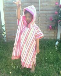 Children hooded bath/beach towelled poncho